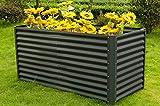 OUTFLEXX 180 x 90 x 84 cm Hochbeet aus hochwertiger Zinkalume in Anthrazit, Gemüse- und Kräuterbeet, erhöhtes Hügelbeet, Pflanzentrog, pflegeleicht, stabil, platzsparend, schnelle Montage